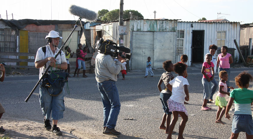 DP Dominique Gentil and soundman Jeff Hodd filming dance class in the Nyanga township