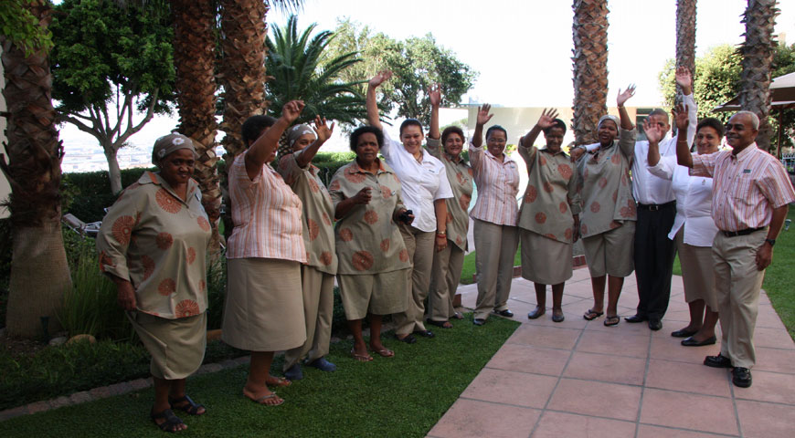 Holiday Inn staff that welcomed the Springboks