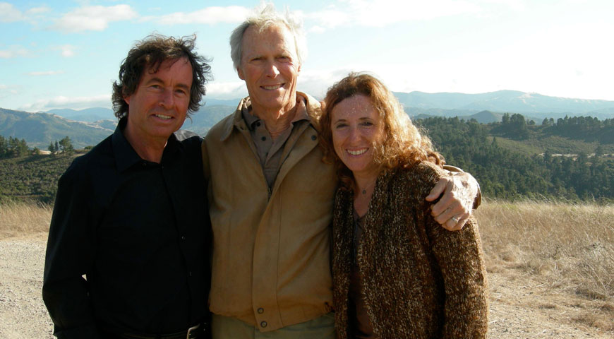 Filmmakers Michael and Carole Wilson with Clint Eastwood